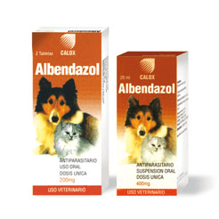 ALBENDAZOL TABLETAS Y SUSPENSION / DESPARASITANTES / PERROS / GATOS / PARASITOS